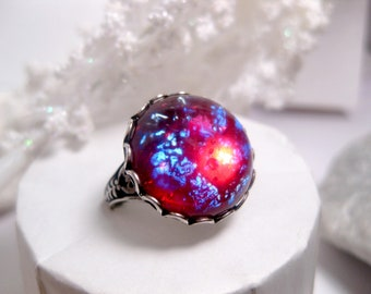 Round Dragon's Breath Ring - Opal Ring - Fire Opal Ring - Gift For Eye Of Sauron Fans - Adjustable Band - Christmas Gift