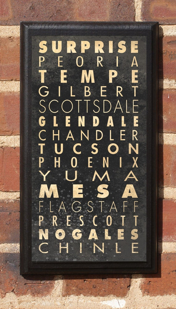 Cities of Arizona Subway Scroll Vintage Style Wall Plaque / Sign Wall Art Home Decor Gift