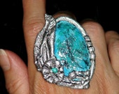POLYMER CLAY JEWELRY Southwestern Jewelry Ring Oversized Big Silver Ring Turquoise Blue Green Handpainted Clay Ring Boho Gypsy Ooak handmade