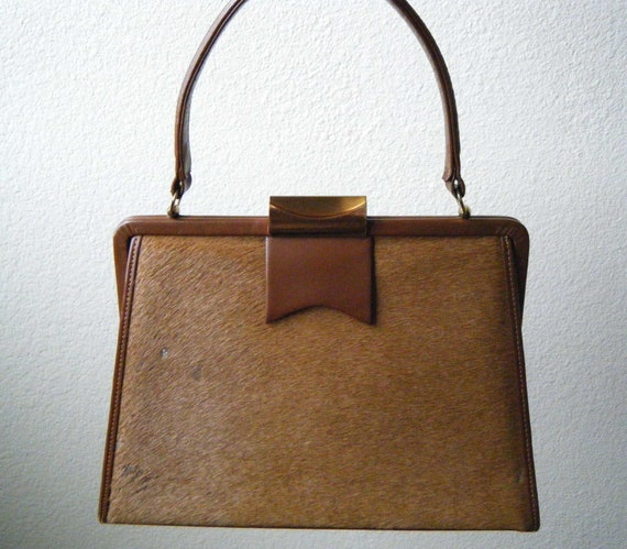 RESERVED, DO NOT Buy - Vintage Linslade London Pony Hair and Leather Kelly Handbag, 1950s England