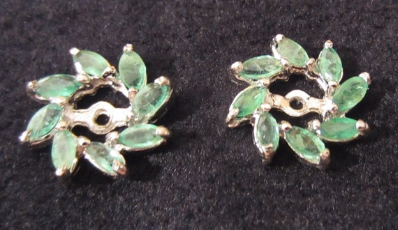 Emerald & Sterling Silver Earring Jackets