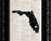 BOGO I Heart Florida - State Map - Map Art Print Personalized - Vintage Dictionary Print - Book Print Page Art  Vintage Book Art