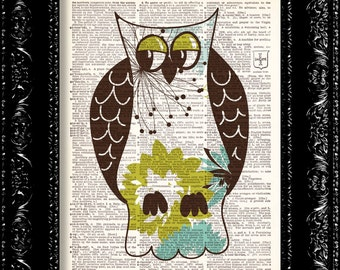Sweetest Baby Owl - Vintage Dictionary Print Vintage Book Print Page Art Upcycled Vintage Book Art