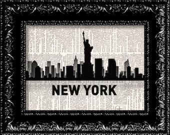 New York NY City Map -  Vintage Dictionary Print Vintage Book Print Page Art  Vintage Book Art