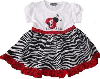 Boutique Ladybug Birthday Ruffle Tee Dress Sizes 6M to 5T