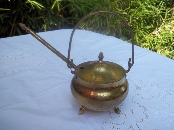All Brass Antique Footed Fire Pot or Cauldron Fire Starter  with Pumice Wand