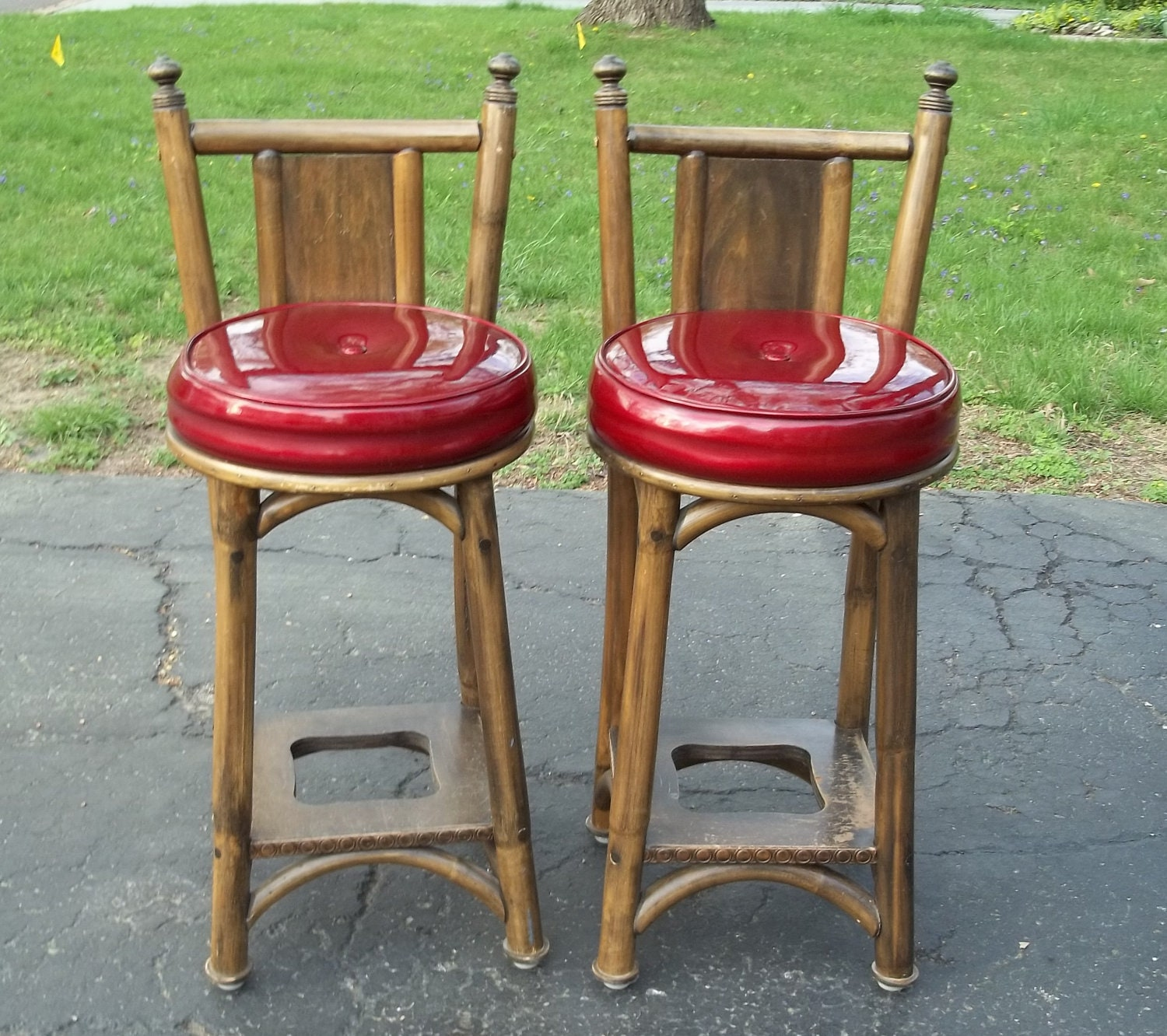 Superb img of Vintage Bar Stools Rattan Wood and Red by Route66StLouis on Etsy with #A12A34 color and 1500x1332 pixels