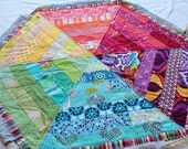 Drawstring Quilt. Beautiful Color Wheel Play Mat. Doubles as a Funky Carry Bag.