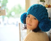 Blue  Hand Knit Hat   The  Ear Flap Hat   Chunky  Knit Autumn   Accessories Winter Accessories Fall Fashion