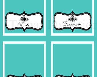 Printable Breakfast at Tiffanys Bridal Shower Place Cards, Table/Tent Cards, Tags