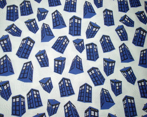 Police Box Fabric Fat Quarter - Spinning on White