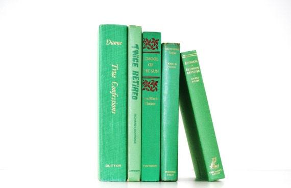 Vintage 5 Book Bright Green Collection Wedding decor Interior Design