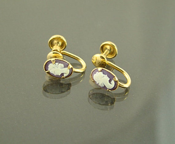 Vintage Carved Small Cameo Screwback Signed Dixelle Gold Filled Earrings