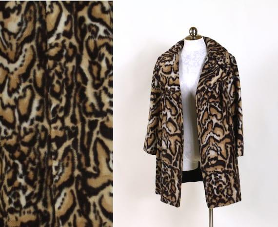 vintage faux fur coat // faux ocelot or faux civet pattern // womens swint coat with portrait collar // size medium large