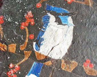 Blue Jay Natural Slate Etching with Berries