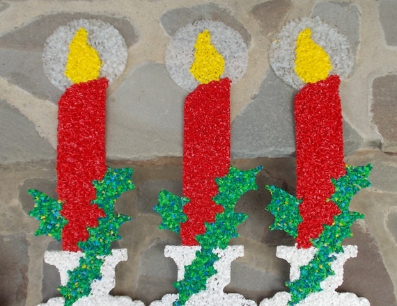 Christmas Holiday Candles Melted Plastic Popcorn 3 Price Includes US Shipping