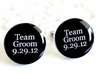 Team Groom cufflinks - personalized round cufflinks with classic font print handmade accessory groomsmen gift