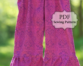 PDF Ruffle Bottom Pants Pattern - sz. 3m - girls 6 INSTANT DOWNLOAD