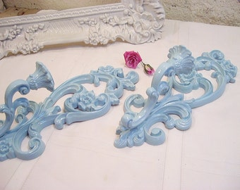 Pair of Vintage Ornate Turquoise Aqua Sconces Beautiful French Country Paris Chic