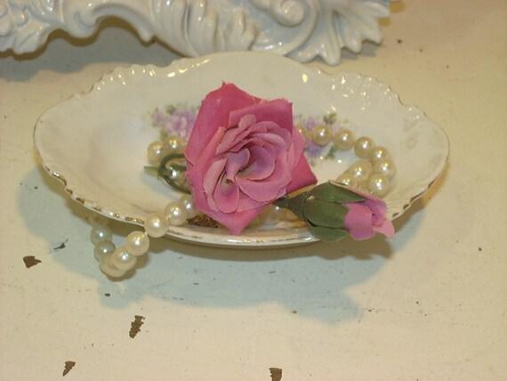 Vintage Rose Porcelain Shabby Soap Dish