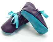Lambswool lined purple and aqua handmade leather shoes for baby, toddler and children