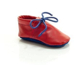 Lambswool lined red and royal blue handmade leather shoes for baby, toddler and children