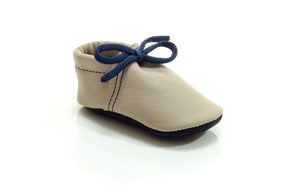 Lambswool lined beige and navy blue handmade leather shoes for baby, toddler and children