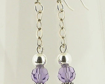 Tanzanite Swarovski Pearl Swarovski Sterling Silver Earrings
