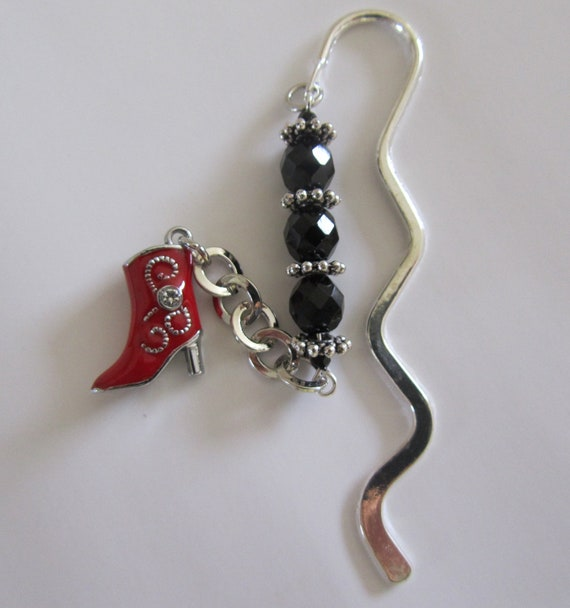 Black Beaded Wavy Bookmark with Red Boot