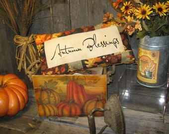 "Primitive Quilt Pieced FALL Leaf  ThanksGiving Lg Pillow "" AUTUMN BLESSINGS "" Fall Decoration Halloween"