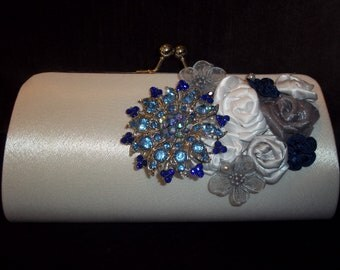 Bridal Clutch - Wedding Clutch in White, Silver and Blue - Winter Wedding Glamour