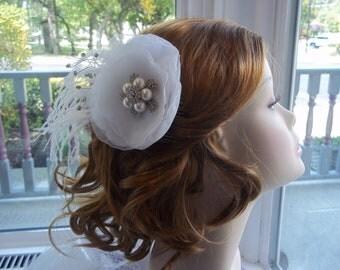 Feathered Bridal Hair Flower - Bridal Headpiece - White Feathered Glamour - Ivory Bridal Hair Flower - Flowered Brooch