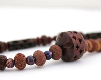 rustic purple necklace lava rock rosewood jasper necklace brown and purple necklace leather boho necklace