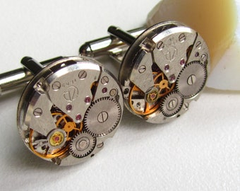 Steampunk Cufflinks with watch movements Birthday gift Mens gears Mens Cuff Links Mens gift ideas Gift for Him mens accessories Industrial