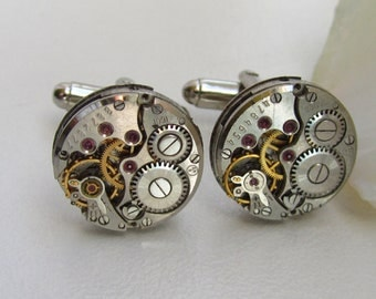 Cufflinks with the smallest round vintage watch movements. Vintage upcycled mens Cuff Links, Gift under 30 Dollars