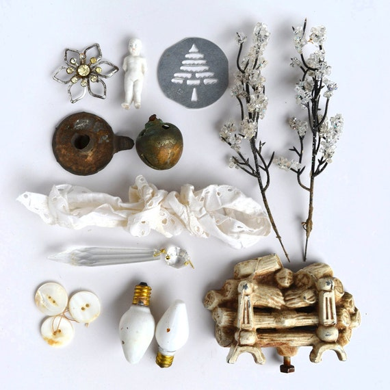 instant collection of objects white bits and pieces for your art  from Elizabeth Rosen
