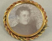 Victorian Jewelry - Large Antique Gold Filled Photographic Pin - Picture Brooch - Black and White Photo Pin - Vintage Brooch, Instant Family