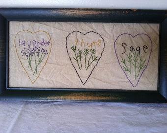 Lavender, Thyme, & Sage - Framed Embroidery