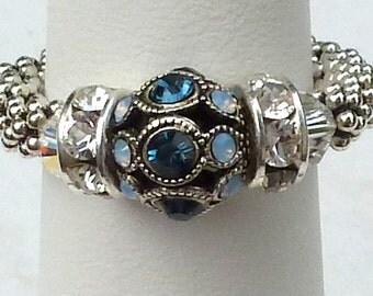 Saphire Stretch Ring, Adjustable Gemstone September Birthstone Ring, Sterling Denim Blue, Swarovski Filigree Gemstone, Birthday Gift for Mom