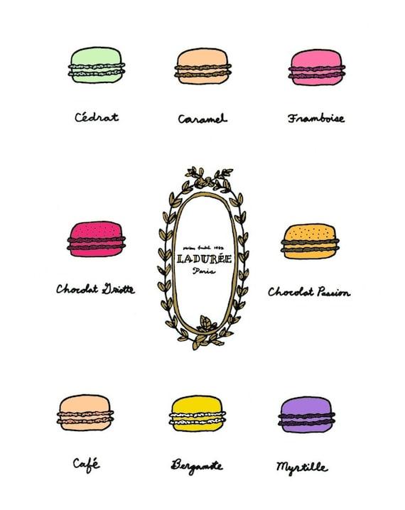 Macarons Poster - 5x7 Illustration Art Print