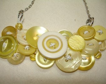 LEMON CHIFFON- Vintage Buttons and more - Yellow and white - Button Necklace - Button Jewelry