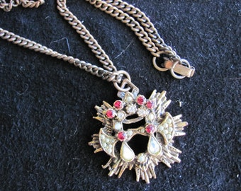 Vintage Pendant Necklace In Antiqued Looking Gold