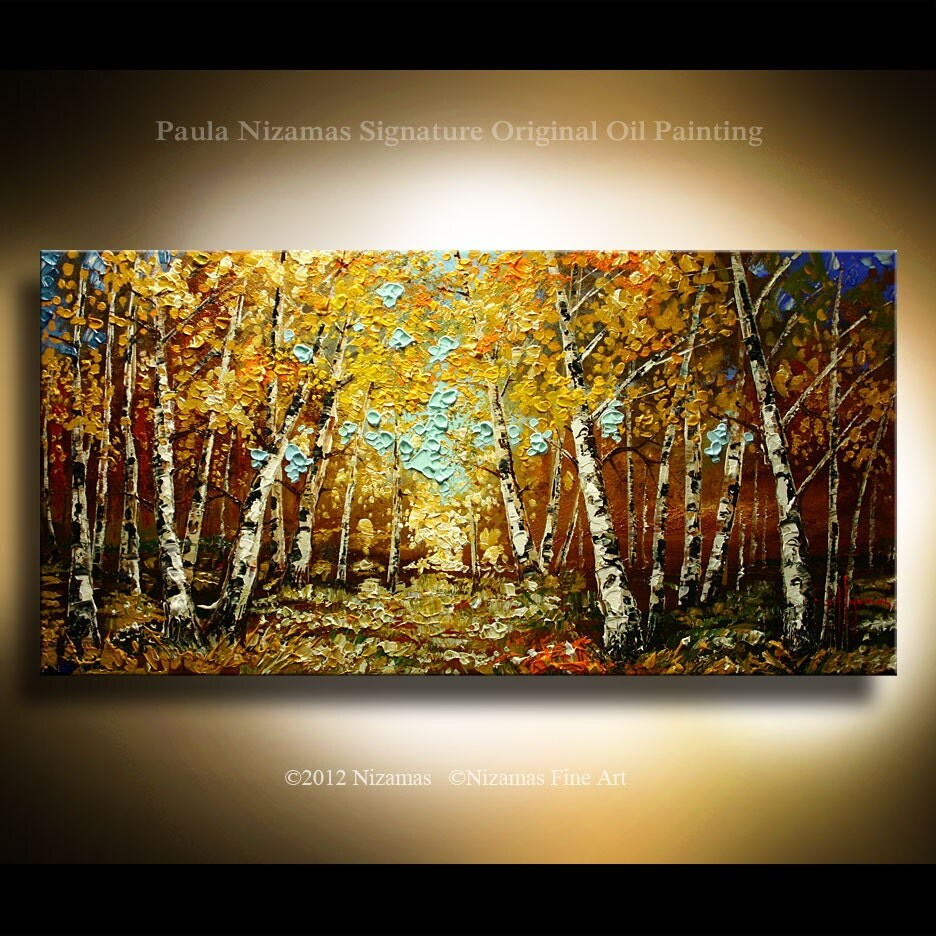 Original impressionist birch tree painting modern gallery for Peinture mural original