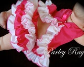 Beautiful Parley Ray Strawberry Delight Spring Pinafore Dress with Ruffled Baby Bloomers/ Diaper Cover Bracelet Photo Props