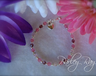 Parley Ray Baby Girls Pink and Purple Bracelet Swarovski Crystals, Cat Eye Beads with a Heart Charm