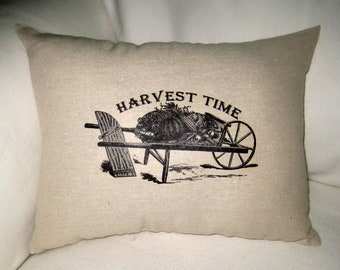 Harvest Time Shabby Chic Fall Pillow, Country Cotton Burlap Fall and Thanksgiving Themed Cushion, Home Decor, Autumn, Pumpkin, Halloween