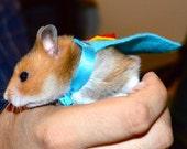Hamster costume. Superman cape. Custom pet Halloween costumes by la Marmota Café.
