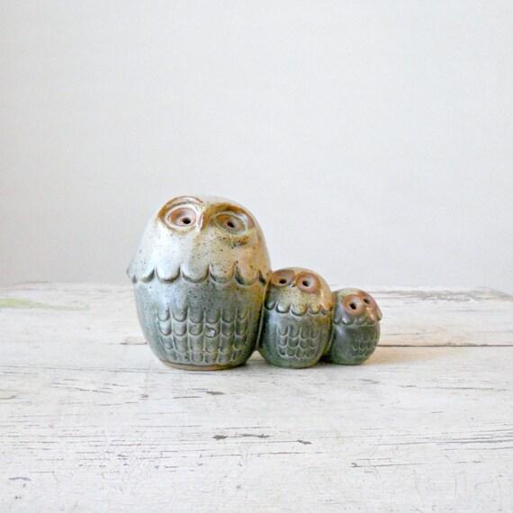Vintage Japanese Owls - Stoneware, Figurines, Novelty