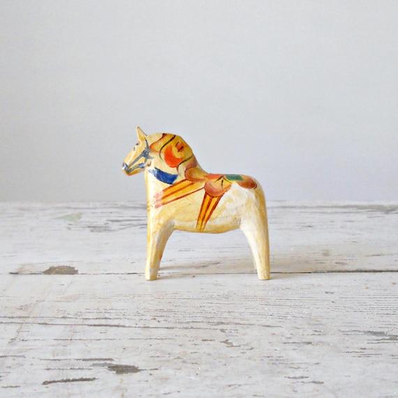 """Vintage Dala Horse - 3"""", Sweden, Natural, Older"""