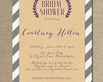 Kraft Bridal Shower Invitation Whimsical Script Gray Plum Purple Striped Modern FREE PRIORITY SHIPPING or DiY Printable- Courtney